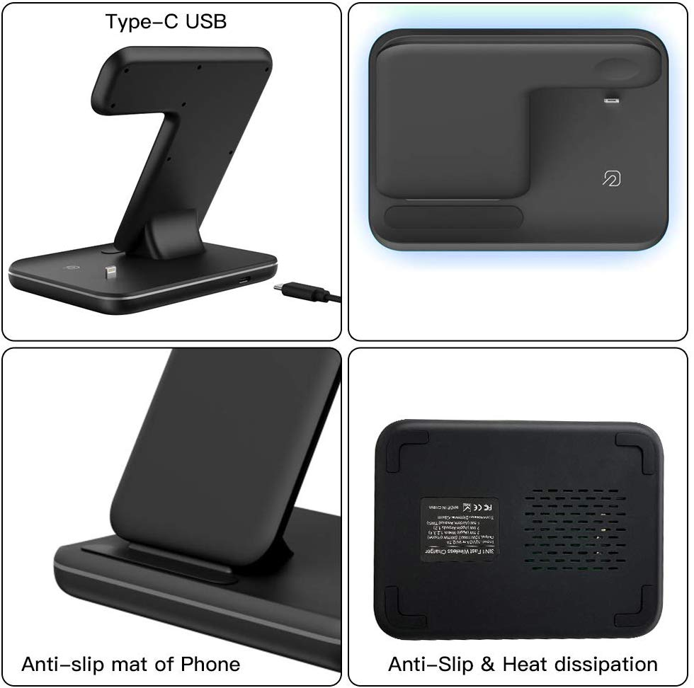 3 in 1 Wireless Charger,15W:10W Qi Fast Wireless Charger Stand for iPhone 11:11 Pro:11 Pro Max:Xs:Xs Max:XR:X:8:8P:Galaxy S10+:S9,Wireless Charging Station with LED Light Fits for iWatch:Airpods-Black888