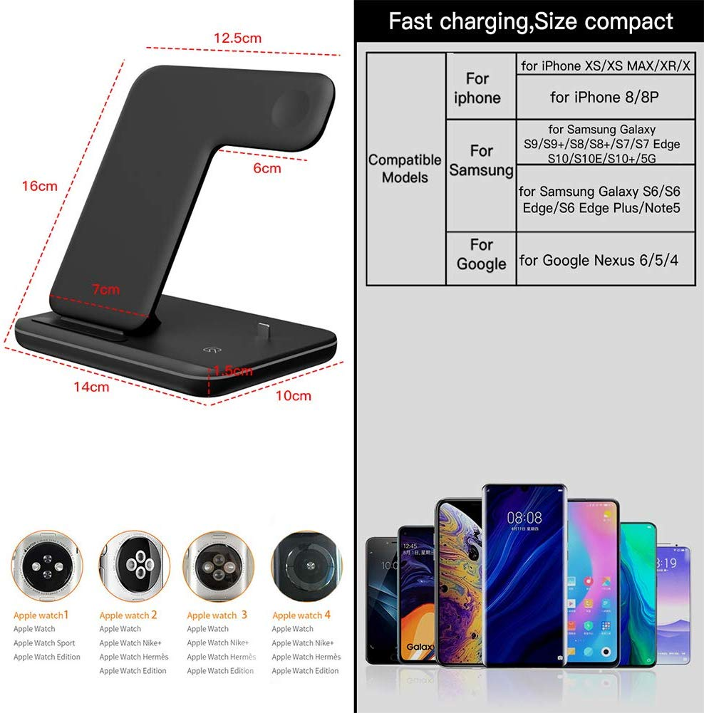 3 in 1 Wireless Charger,15W:10W Qi Fast Wireless Charger Stand for iPhone 11:11 Pro:11 Pro Max:Xs:Xs Max:XR:X:8:8P:Galaxy S10+:S9,Wireless Charging Station with LED Light Fits for iWatch:Airpods-Blackdd