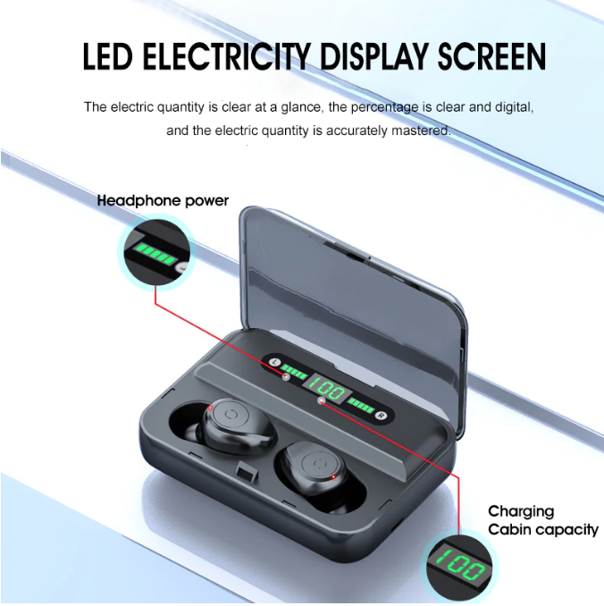 5.0 Bluetooth EarphonesEarbuds with LED Display and 1200mAh Power Bank Case 66