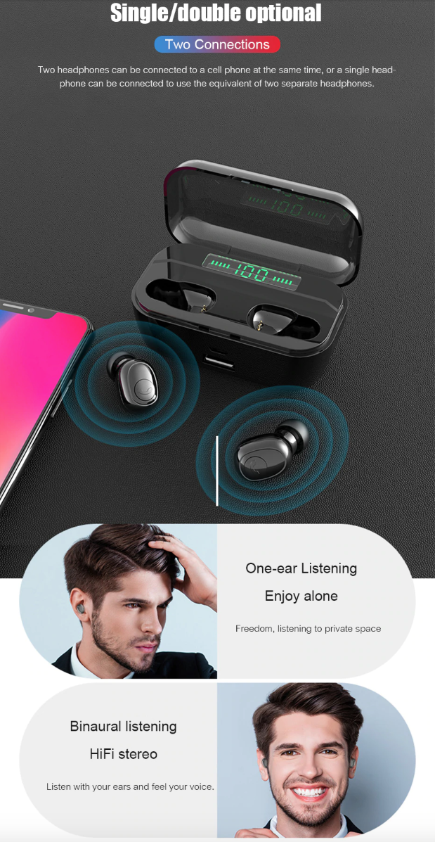 Wireless Bluetooth Earphones 3Earbuds 8D Stereo MINI with 3500mAh Power Bank Charging Case