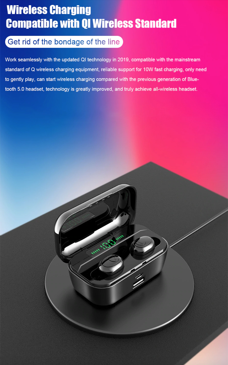 Wireless Bluetooth EarphonesEarbuds 8D Stereo MINI with 3500mAh Power Bank Charging Case 2